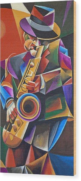 Jazz Sax Wood Print by Bob Gregory