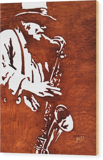 Jazz Saxofon Player Coffee Painting Wood Print