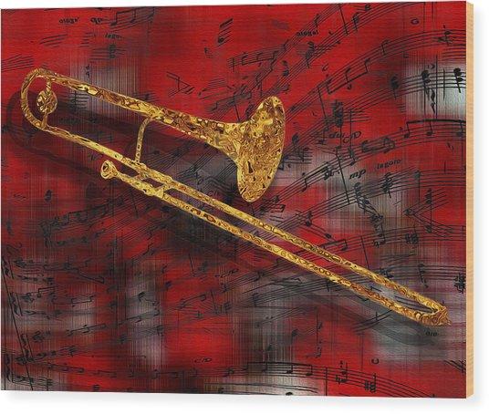 Jazz Trombone Wood Print