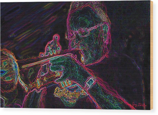 Jazz Trumpet Man Wood Print