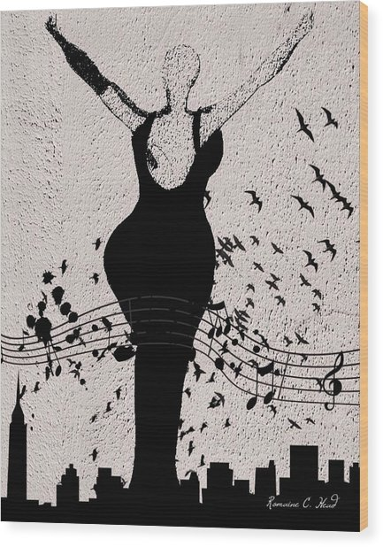 Jazzinthesky Wood Print