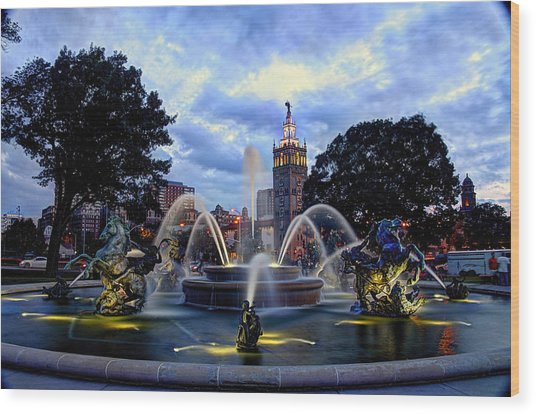 J. C. Nichols Fountain Wood Print
