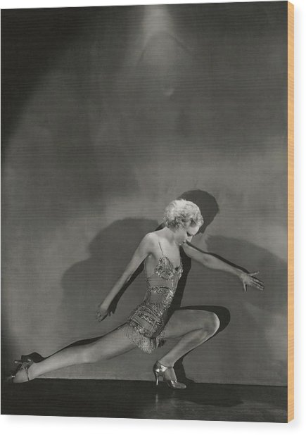 Jean Barry In Evergreen Wood Print by George Hoyningen-Huene