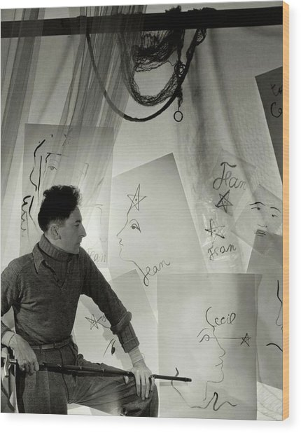 Jean Cocteau With A Cane And Drawings Wood Print