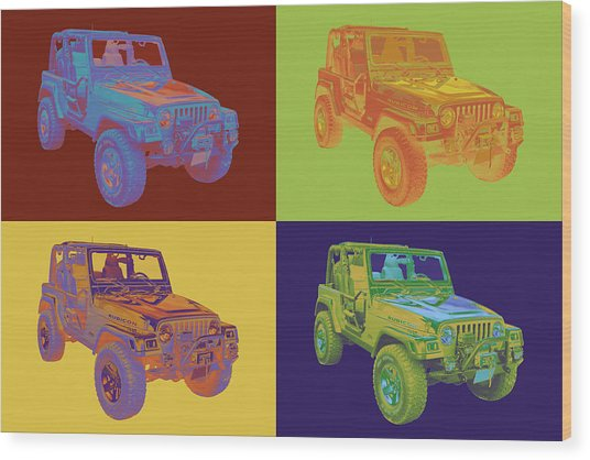 Jeep Wrangler Rubicon Pop Art Wood Print