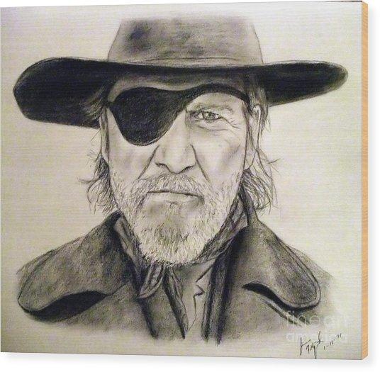 Jeff Bridges As U.s. Marshal Rooster Cogburn Wood Print by Jim Fitzpatrick
