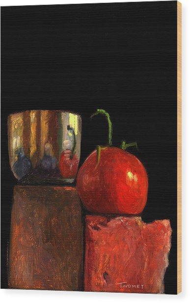 Jefferson Cup With Tomato And Sedona Bricks Wood Print