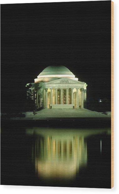 Jefferson Memorial At Night Wood Print