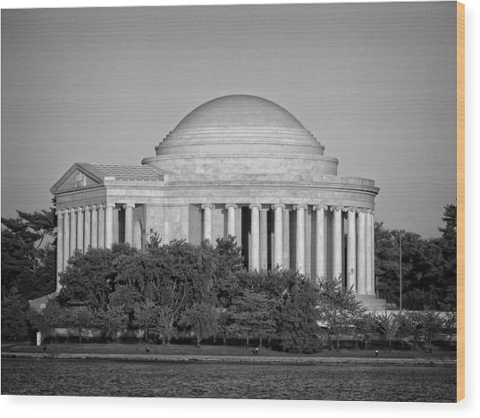 Jefferson Memorial In Black And White Wood Print