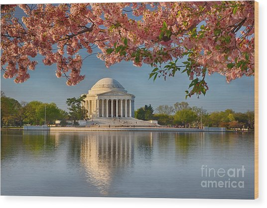 Jefferson Memorial In Spring Wood Print