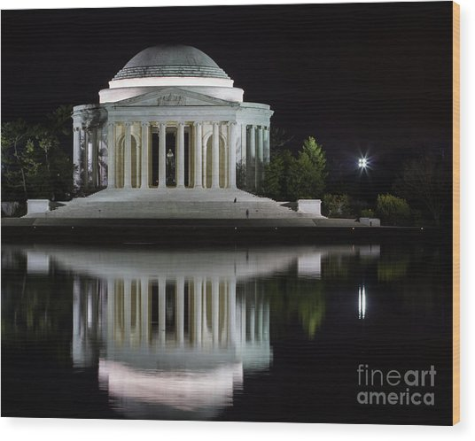 Jefferson Reflections Wood Print