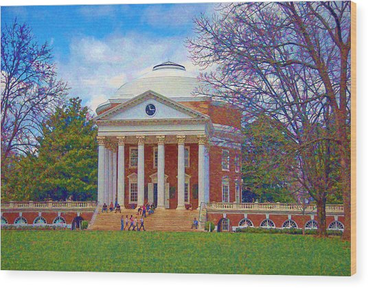 Jefferson's Rotunda At Uva Wood Print