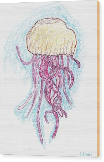 Jelly Fish Floating Wood Print by Ethan Chaupiz