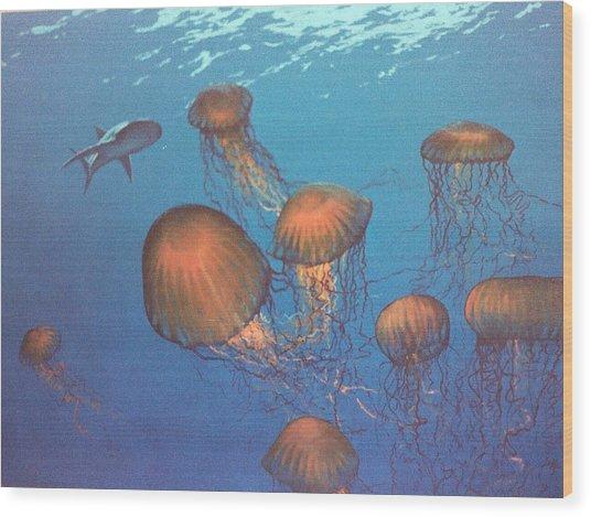 Jellyfish And Mr. Bones Wood Print by Philip Fleischer
