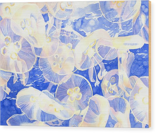 Jellyfish Jubilee Wood Print