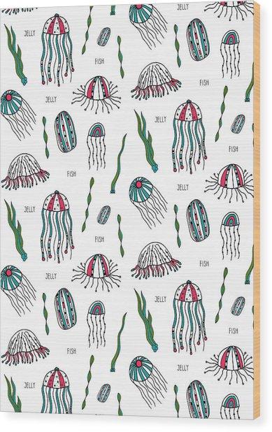 Jellyfish Repeat Print Wood Print