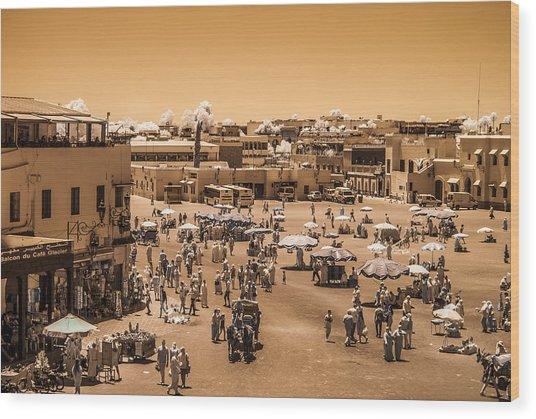 Jemaa El Fna Market In Marrakech At Noon Wood Print
