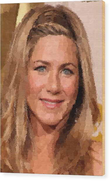 Jennifer Aniston Portrait Wood Print