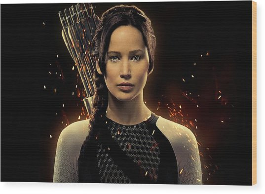 Jennifer Lawrence As Katniss Everdeen Wood Print