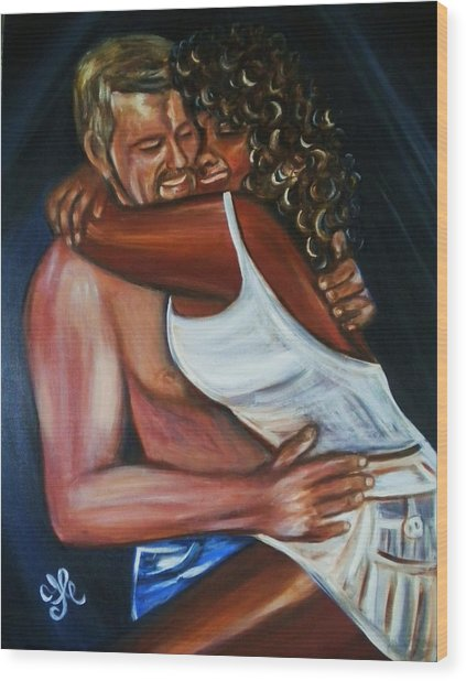 Jenny And Rene - Interracial Lovers Series Wood Print