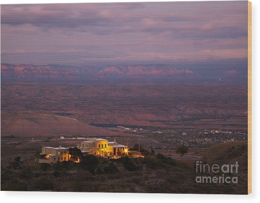 Jerome State Park With Red Rocks Of Sedona Arizona In Magic Light Wood Print