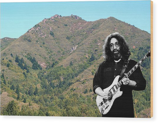 Jerry Garcia And Mount Tamalpais Wood Print