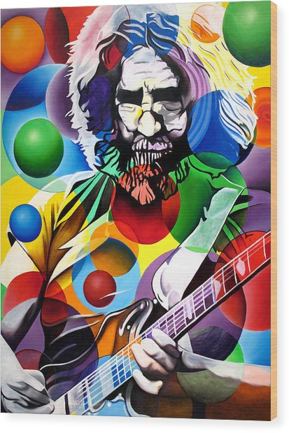 Jerry Garcia In Bubbles Wood Print
