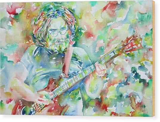 Jerry Garcia Playing The Guitar Watercolor Portrait.3 Wood Print