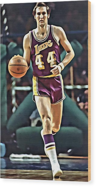 Jerry West Wood Print