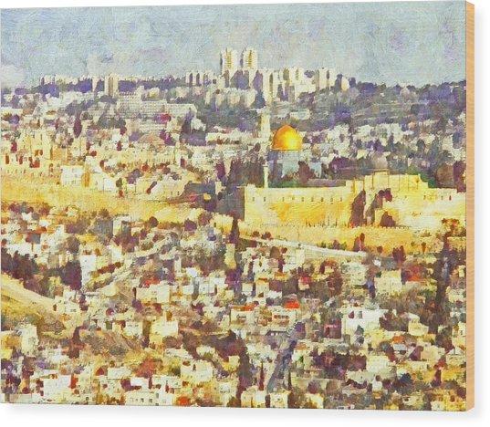 Jerusalem Sunrise Wood Print