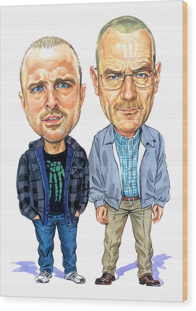Jesse Pinkman And Walter White Wood Print by Art