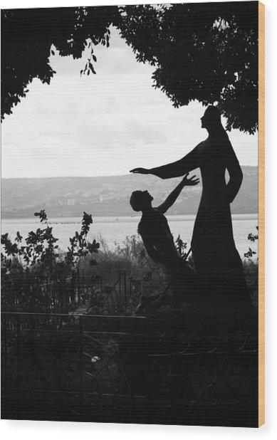 Jesus And Saint Peter By Sea Of Galilee Wood Print