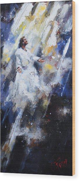 Jesus Ascending Wood Print