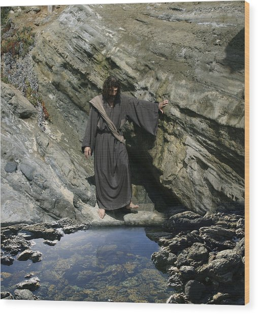 Jesus At The Pond Wood Print
