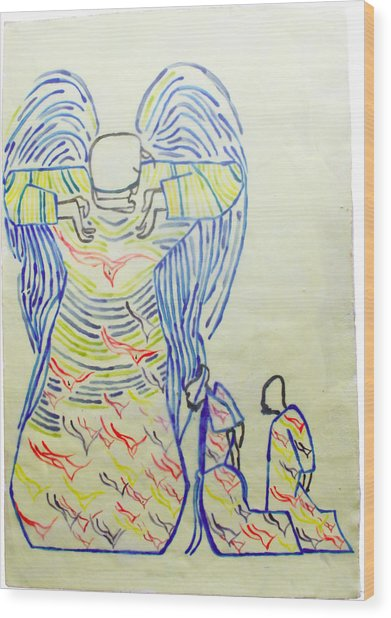 Jesus Guardian Angel Wood Print