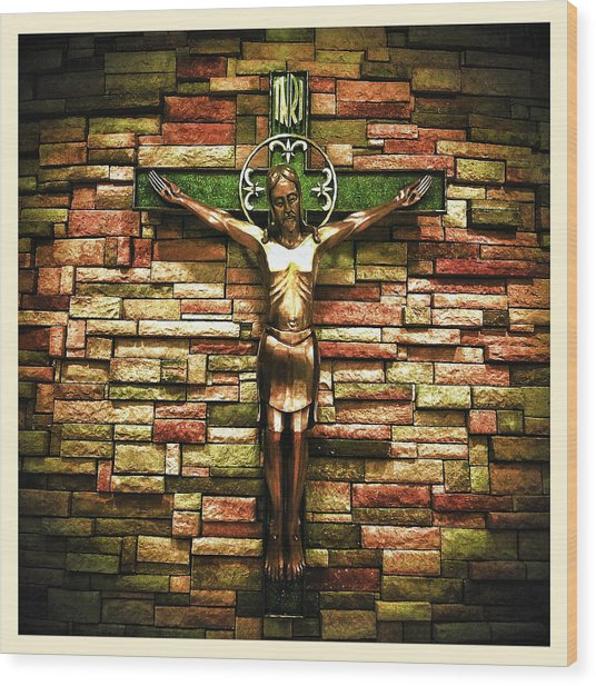 Wood Print featuring the photograph Jesus Is His Name Cream Border by Al Harden
