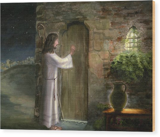 Jesus Knocking On The Door Wood Print