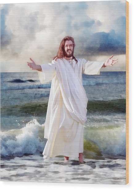 Jesus On The Sea Wood Print