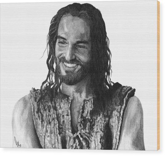 Jesus Smiling Wood Print