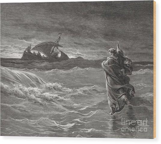 Jesus Walking On The Sea John 6 19 21 Wood Print