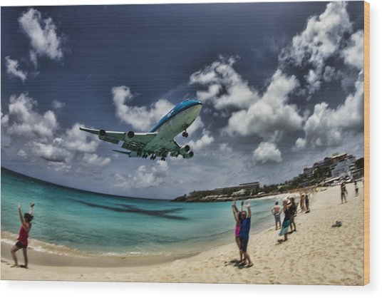 Jet Landing Over Maho Beach Wood Print