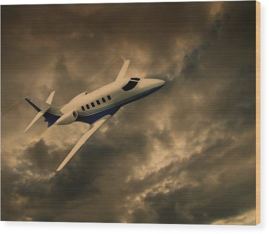 Jet Through The Clouds Wood Print