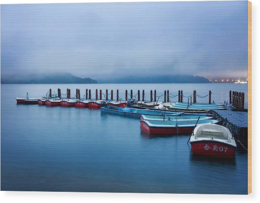 Jetty At Sun Moon Lake Wood Print