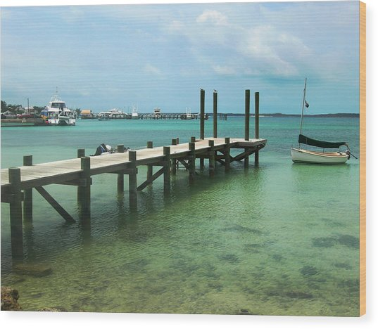 Jetty Old Boat Wood Print by Sarah-jane Laubscher