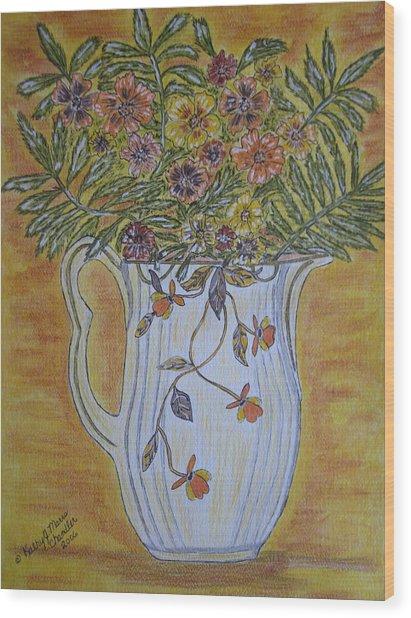 Jewel Tea Pitcher With Marigolds Wood Print