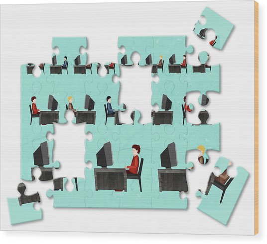 Jigsaw Puzzle Of Businessmen Wood Print by Fanatic Studio / Science Photo Library