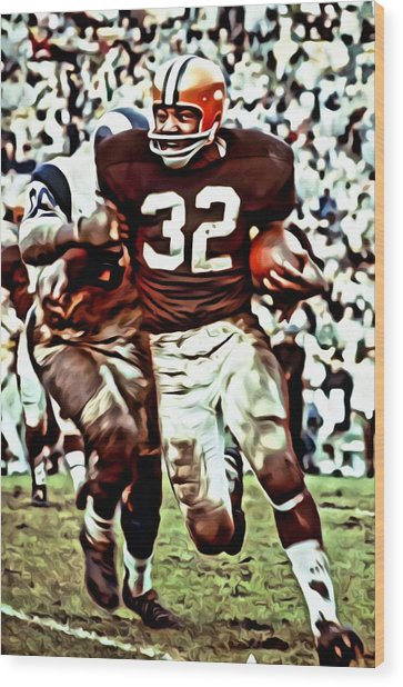 Jim Brown Wood Print
