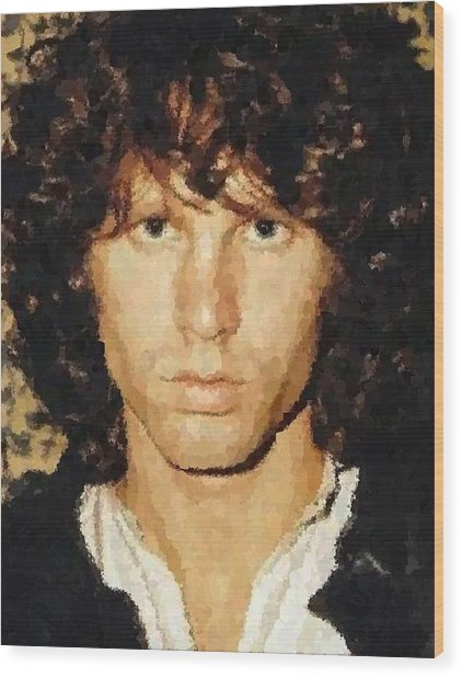 Jim Morrison Portrait Wood Print