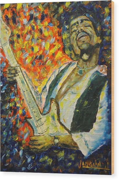 Jimi Wood Print by Charles Vaughn