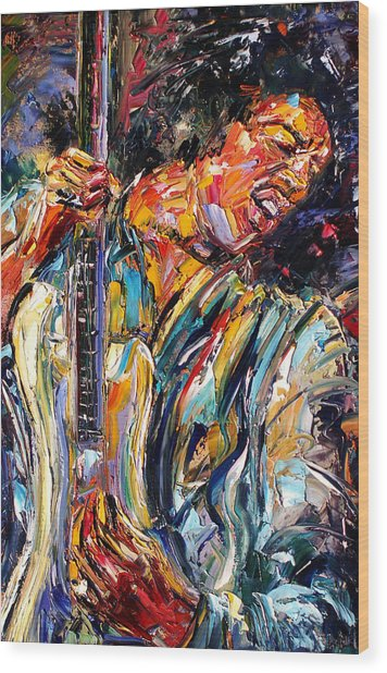 Jimi Wood Print by Debra Hurd